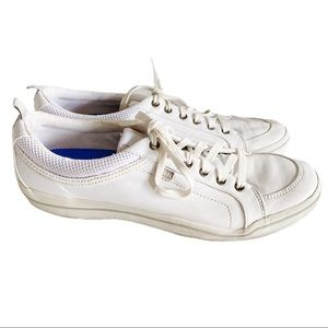 Keds Oxford Leather Lace up Plain White Sneakers
